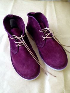 aubergine suede boots - 'vellies' at KINGDOM Suede Boots, My Style, Interior, Clothing, How To Wear, Shopping, Shoes, Fashion, Eggplant