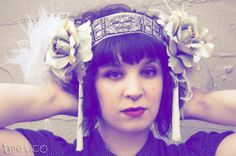 Art Nouveau Headdress  - Rhinestone with Blue Velvet Roses and Ostrich feathers  - Steampunk Mucha Headband - Ready to Ship