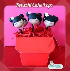 Kokeshi (Kimmi Doll) Cake Pops in red chinese take away boxes!!