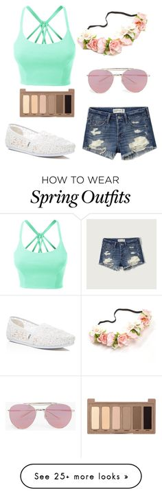 """""""Spring outfit"""" by unikitty32 on Polyvore featuring LE3NO, Abercrombie & Fitch, TOMS, Boohoo and Urban Decay"""