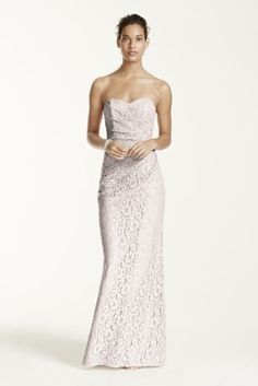 Your wedding party will look effortlessly chic in this endearing lace dress!  Strapless bodice with ultra-feminine sweetheart neckline.  Long soft lace skirt with side ruching creates a flattering silhouette.  Fully lined. Back zip. 52% Nylon/48% Rayon. Dry clean only. Available in Extra Length sizes as Style 4XLW10329.