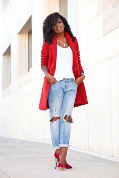 Style Pantry   Cocoon Coat + Tank + Boyfriend Jeans