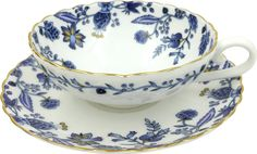 Jsaron Vintage Blue Flower Tea Cup with Spoon and Saucer Set in Gift Box
