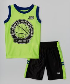 Another great find on New Balance Royal & Neon Yellow Logo Tank & Black Shorts - Toddler & Boys by New Balance Sporty Outfits, Boy Outfits, Short Niña, Kids Clothes Boys, Boys Pajamas, Bermuda, Boys T Shirts, Neon Yellow, Baby Wearing