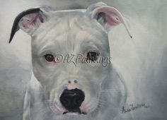Don't Let The Sun Go Down On Me - oil painting of a rescued pitbull terrier -- Anne Zoutsos
