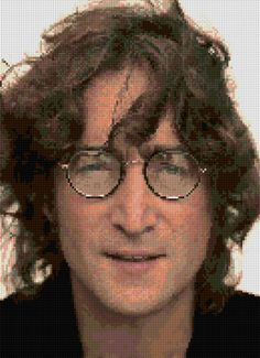 John Lennon Cross stitch portrait pattern PDF - EASY chart with one color sheet And regular chart! Two charts in one! by HeritageCharts on Etsy