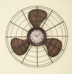 clock fan from fan blades and cage