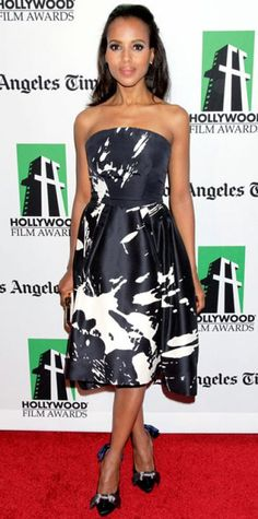 Look of the Day › October 23, 2012 WHAT SHE WORE Washington paired Monique Lhuillier's splattered cocktail dress with a satin Louis Vuitton clutch and bowed pumps at the Hollywood Film Awards Gala.