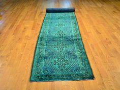 2.5u0027 X 13u0027 Oriental Rug, Hand Knotted Runner Overdyed Persian Hamadan Rug  Sh8467