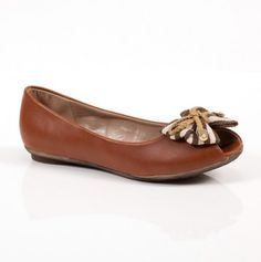 Peep Toe Flat with Striped Bow.♥