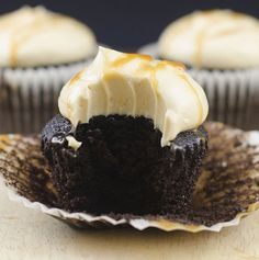 Dark Chocolate Cupcakes with Salted Caramel Buttercream