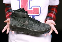 69fc5dc6c3d5 Nike Air Force One AF1 Ultra Flyknit Mid QS Black Grey Men Lifestyle Shoes