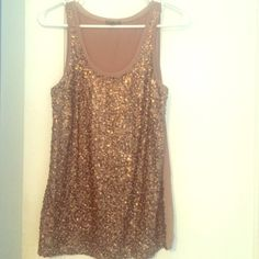 ❗️SALE❗️NWOT brown Express sequin tank top Never been worn. Size small Express Tops Tank Tops