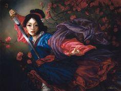 Pintura clásica en óleo de Mulan