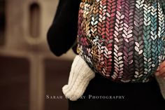 Baby Carrier Wrap Winter Rainbow, made by Woven Wings, in pattern Knitwear, contains cotton merino Limited Edition, released 23 November 2015 Baby Wearing Wrap, Baby Carrying, Baby Wrap Carrier, Woven Wrap, Baby Wraps, Stockinette, Black Knit, Vera Bradley Backpack, Beautiful Babies