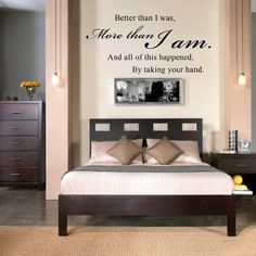 All Of This Happened By Taking Your Hand - Romantic Couples Quote Wall Decal Vinyl Sayings Bedroom Decor (White, Medium):Amazon:Home & Kitchen