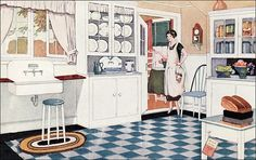 """1925 Kitchen - Ad for Valspar Paint  """"Valspar Enamel comes in twelve beautiful colors; Red—light and deep; Blue—light, medium, and deep; Green—medium and deep; Ivory, Vermilion, Bright Yellow, Gray and Brown. Also in Black, White, Bronze, Aluminum and Flat Black. By mixing two or more of these colors, you can secure and shade you want."""" Originally made by Valentine & Company of New York.    Source: House & Garden"""