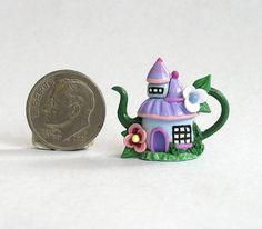 Miniature Whimsical Fairy House Teapot OOAK by C by ArtisticSpirit