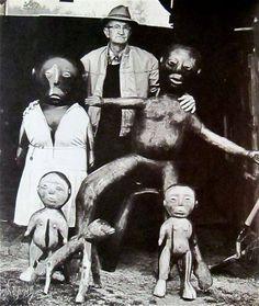 """Raymond Coins with his """"family"""" 1981 via Outsider Art Fair Facebook"""