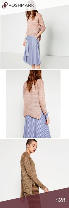 Zara Two Tone Sweater Oversized high low sweater . Pink/white color . Long sleeves and round neck. Zara Sweaters