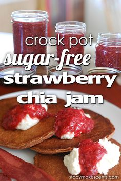 Strawberry freezer jam, sugar free, thickened with chia and in the crockpot! Awesome!