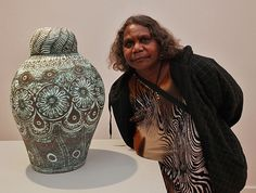A collection of Aussie art that has piqued my interest over the last 12 months, typically bursting with the inexhaustible life force from the ancient continent. Aboriginal Culture, Aboriginal Art, Arts Award, Indigenous Art, Bottle Art, Clay Ideas, Ceramic Art, Designers, Enamel