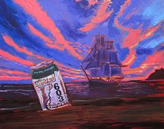 18 Mile Rye Pale Ale, 603 Brewery, New Hampshire Beer Art, Nautical Decor, Pirate Ship Painting, Boat & Beer Art, Sailing Painting, Bar Art
