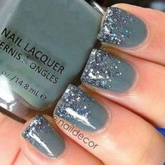 Don't think that you can't work around with gray just because it isn't an instant stand out color; you can always work around with color combinations as styles.--like glitter. Glitter is always the best partner of your nail polish.