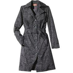 Kirna Zabete for Target Long-sleeve Trench Coat in Black/Gray Leopard... ($60) via Polyvore