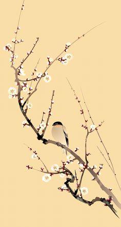 Japan Art, Chinoiserie, Bird, Wallpaper, Canvas, Illustration, Prints, Animals, Backgrounds