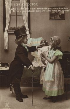 Pictures vintage Children/little boy and girl playing house with her doll ~ adorable