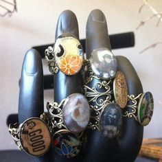 Resin rings set in bronze created by MAYOULEE   Accessories! soo cute =D
