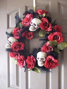 Skull and Roses #HalloweenWreath #OutdoorHalloween By{Kelly McDowell-DeVries}