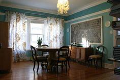 Beautiful blue dining room. See more @BrightNest blog.