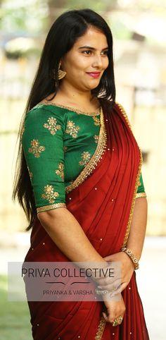 A Road MLA Colony Banjara Hills Hyderabad - Contact : 9160560480 to High Neck Saree Blouse, Saree Dress, Bridal Blouse Designs, Saree Blouse Designs, Saree Color Combinations, Maroon Saree, Kurti Embroidery Design, Fancy Sarees, Indian Designer Wear