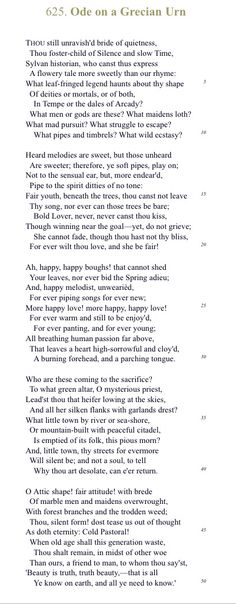 """""""Forever wilt thou love, and she be fair!""""  Ode to a Grecian Urn- Keats 1819"""