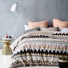 This is the sooner cover I have! Teamed with the square black Plato pillows with gold dots. - from Adairs