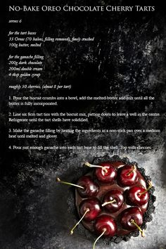 No-Bake Oreo Chocolate Cherry Tarts Chocolate Cherry, Chocolate Desserts, Chocolate Oreo, Pie Dessert, Dessert Recipes, Cherry Tart, Cherry Red, Tartelette, Cupcakes