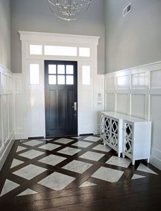 floor design could do this look in foyer but with wood look tile as the dividing pieces not true wood would have to find a wood tile close to the color of the wood floor we want Foyer Design, House Design, Tile Design, Staircase Design, Tile Floor Designs, Tile Floor Patterns, Attic Staircase, Attic Design, Design Design