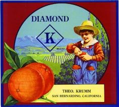 San Bernardino CA, Diamond K Brand fruit crate label