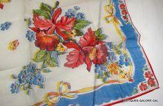 Vintage Ladies Handkerchief Floral Hankie Red by AntiquesGaloreGal