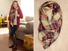 I LOVE the colors in this scarf!!!!!  Please send.  Look by M Alpine Plaid Wrap Blanket Scarf XL Stitch Fix Review