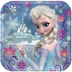 Set de platos de Elsa Frozen- Decoración fiesta cumpleaños princesas Disney Frozen