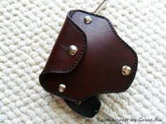 100% hand stitched handmade mahogany cowhide leather key purse / holder / case-opens from both sides