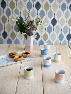 Cup of coffee pack of 6 handpainted porcelain by ChaleurUrbaine