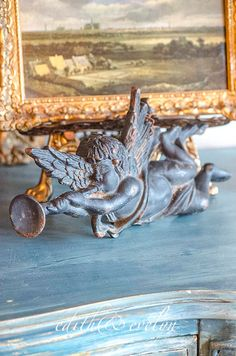 Antique French Cast Iron Cherub Heraldic from by edithandevelyn