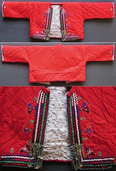 Traditional quilted cotton 'cepken' (outer vest) from the Karakeçeli (Yörük) villages of the Keles district (south of Bursa).  Local name: 'güdük'.  Village (rural) style, ca. 1975.  Part of the bridal/festive costume of young women.  Adorned with two small (pseudo-)buckles in silvery metal, multicoloured zigzag ribbons and embroidery motifs; edged with black cotton cordage with integrated small white glass pearls.   (Inv.nr. cep049  - Kavak Costume Collection-Antwerpen/Belgium).