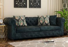 Textured Blue, velvet finish Henry 3 Seater Sofa ~ Henry 3 seater sofa is an amalgamation of class and elegance. Its tufted headboard design complemented by the olive gold color fabric renders the royal look. #sofas #sofaset #fabricsofa #fabricsofas #fabricsofasets #furniture #livingroom