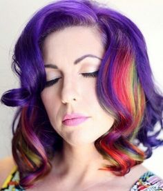I could've done my hair something like this.... Main color Purple, rest Rainbow <3