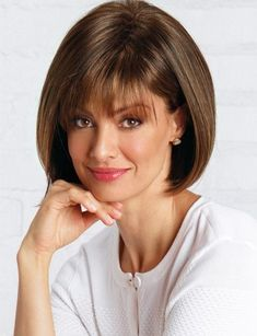 Shop our selection of short bob style wigs! Scorpio by Revlon Wigs boasts full fringe bangs with a rounded bob cut and features a cool, capless construction. Asymmetrical Bob Haircuts, Short Bob Haircuts, Long Bob Hairstyles, Hairstyles With Bangs, Short Wedge Hairstyles, Vintage Hairstyles, Bob Haircut With Bangs, Short Hair With Bangs, Short Hair Cuts